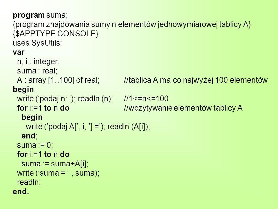 program suma; {program znajdowania sumy n elementów jednowymiarowej tablicy A} {$APPTYPE CONSOLE} uses SysUtils; var n, i : integer; suma : real; A : array [1..100] of real; //tablica A ma co najwyżej 100 elementów begin write ('podaj n: '); readln (n); //1<=n<=100 for i:=1 to n do //wczytywanie elementów tablicy A begin write ('podaj A[', i, '] ='); readln (A[i]); end; suma := 0; for i:=1 to n do suma := suma+A[i]; write ('suma = ' , suma); readln; end.